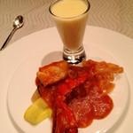 翆陽 - オマール海老のチリソース 唐辛子のパスタと共に
