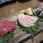 串駒 - 刺身(鮪・鯛・焼き鰆)