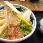 まるかつ - ・天ぷら冷ぶっかけ・冷¥850(300g) ※大盛¥100(200g増)
