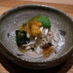 吉い - 料理写真:ワタリガニ、毛ガニ、上海が二に毛ガニの肝とオクラソース