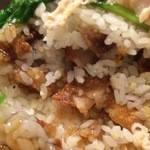 俵飯 - 鶏唐ミルフィーユ飯(の中には巨大な「胸肉1枚」鶏唐が2枚・・・)