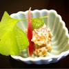 割烹 まとの - 料理写真:先付。柿の白和え、おくらのすりおろしと、酢漬けのミョウガ