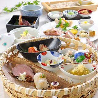 宴会コース京和食コース:3600円~!(写真は籠盛りコース)