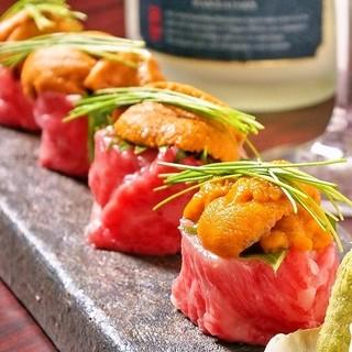 雲丹肉巻き&フォアグラ寿司