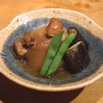 まるやま - お通し (里芋と揚げ茄子の煮物) (2015/09)