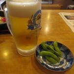 金時 - 生ビール&枝豆 520円(2015.9)
