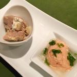 ロルマ アッティーヴァ - 豚とサツマイモのパテとトマトのムース