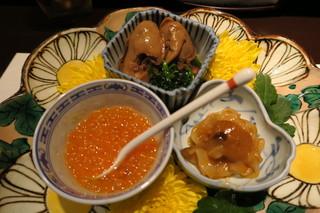 青華こばやし - 27年10月 前菜3種 牡蠣時雨煮、筋子、塩辛