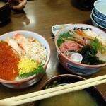北のグルメ亭 - 友人の頼んだたらばイクラ丼1470円と比べてみました、他人の料理の方が美味しそうに見えるのは何故でしょうか?
