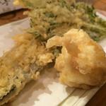 酒喰洲桜井水産 - 天ぷら白子春菊秋刀魚