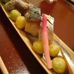 43658383 - お凌ぎ もずく、バイ貝、〆鯖の押し寿司、銀杏の素揚げ