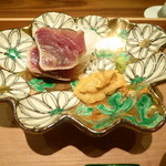 Oimatsu Kitagawa - お造り(鰹のたたき、天草の雲丹>