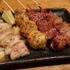 うきち炭火焼鳥 - 料理写真:ももにく、つくね、レバー×2