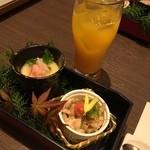 43856639 - 前菜は茶碗蒸しと鶏皮ポン酢和え★                                              かなりのオシャレさにびっくり!