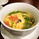 健康中華庵 青蓮 - 青菜と玉子のトマトスープ