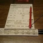 一蘭 - お好み表