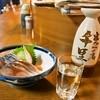 串かつ 千里 - 料理写真:〆さば酢味噌 & 日本酒(小)