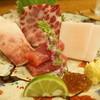 どおぞの - 料理写真:お造り(赤身、さえずり、かのこ、脂身)
