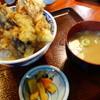 渡 - 料理写真:海老天丼(¥720税込み)赤海老三尾、茄子天、ピーマン天~