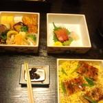 割烹 由多嘉 - 松花堂3段\3,900-也平目1切れ食べちゃいました。
