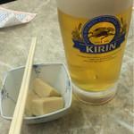 京極スタンド - ビール中セット(1050円)。