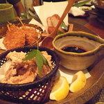 音音 - おつまみ揚げ物3種盛り☆串木野薩摩揚げ、銘柄豚の串かつ、若鶏の唐揚げ♪