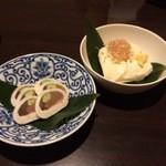 函館海鮮居酒屋 魚まさ - いかゴロのルイベと寄せ豆腐