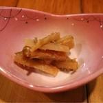 津軽衆 - お通しはごぼうの味噌漬け