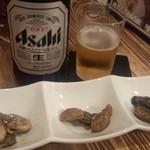 オイスターバー 広島じゃけぇ - 中瓶ビール+お通し