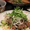 呑ん太 - 料理写真:週替わり定食(牛ステーキのサラダ仕立て、ひじき、蕎麦、ご飯)