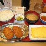 天六食堂 - コロッケと玉子焼定食 577円