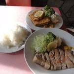 源氏食堂 - ブタ肉塩焼きライスとミックスフライ