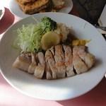源氏食堂 - いすみ豚のロース塩焼き、ポテサラ添え