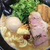 誠屋 - 料理写真:ラーメン 太麺 3点盛 ランチ大盛 揚げニンニク 生姜 豆板醤のせ