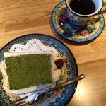 サザコーヒー - 抹茶のシフォンケーキと本日のコーヒー