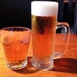 とり鉄 - 生ビールを頼んでみた。左は玄米茶だろうか…