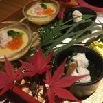 45014339 - 【お通し】蟹の茶碗蒸し                       【前菜】鱧と松茸の銀餡かけ                                              茶碗蒸しのいくらはプチプチはりがあり、塩加減も丁度良かったです。                       鱧は分厚くて香りも良いですね!