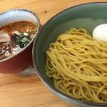 麺 風来堂 - 辛いつけ麺 塩ゆで半熟玉子トッピング(900+100円)