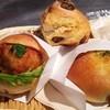 ロータスバゲット - 料理写真:チキンカツバーガー(200円 左)、無花果のスコーン(150円 中)、自家製焼きカレーパン(160円 右)