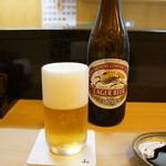 鮨 和 - 料理写真:まずはビールをいただきながら
