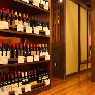 ◆ワインセラー完備◎常時70種以上の豊富なボトルワイン♪