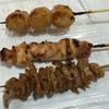 鮒忠 - 料理写真:上から、つくね、若鶏焼鳥、鶏皮のカリカリ揚げ