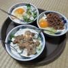 松浪 - 料理写真:かまぼこと小柱のお好み焼き、浅利と葱のお好み焼き、牛そぼろのお好み焼き