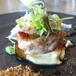 45431820 - 地鶏ロースト 秋茄子とスカモルツァの重ね焼き