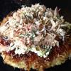 銀の卵 - 料理写真:牛スジこんお好み焼き完成