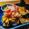 よ兵 - 料理写真:先附:蟹と錦糸卵の寿司、揚餅(甘味噌)、蛸(酢味噌)、だし巻き玉子、鱈子、菜花(ごまダレの小鉢)