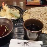 一成 - お昼の天ざる蕎麦(990円)