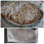 三日月屋 - ザマンド(278円)・・クロワッサン自体を平たく延ばして、上に「アーモンド」がタップリ乗せられた甘い品。 パンというより洋菓子ですね。