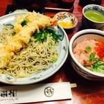 神田 本陣房 - 2015/7「本日のまかない丼と手打ちそば」(ご飯少なめ盛り)