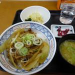 小田原パーキングエリア(下り線)スナックコーナー - 牛カルビ丼の朝定食400円